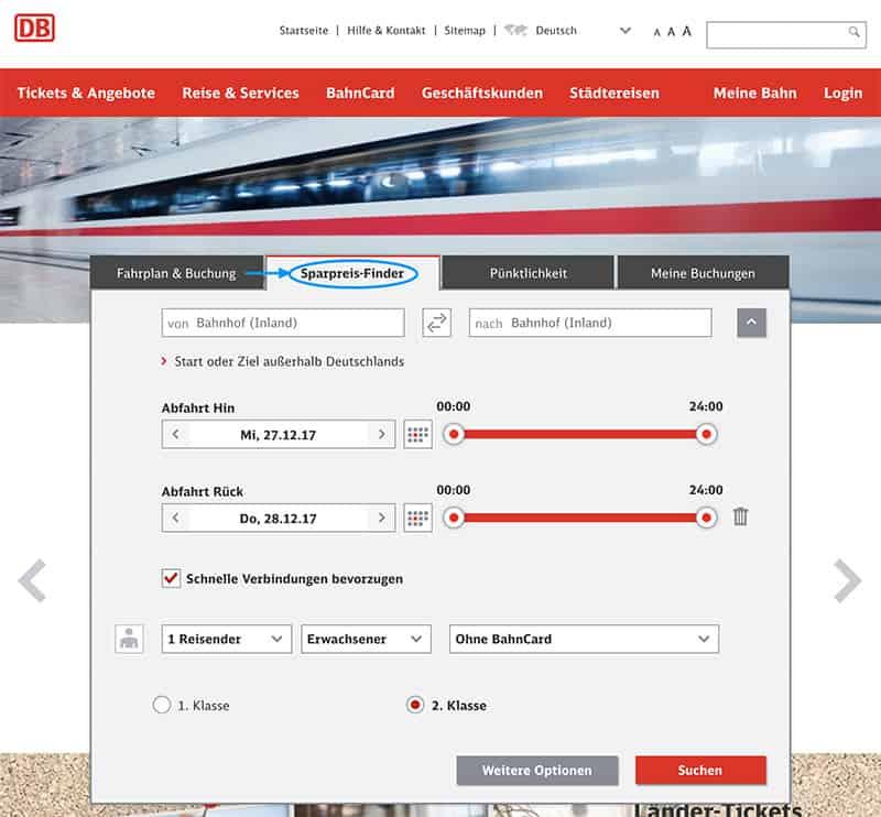 Günstige Bahntickets buchen sparpreis sparpreisfinder